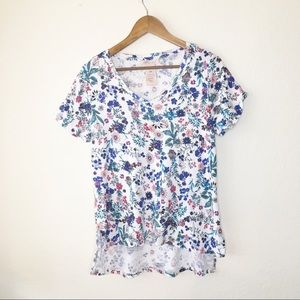 Philosophy V Neck Tee M High Low Floral Top White